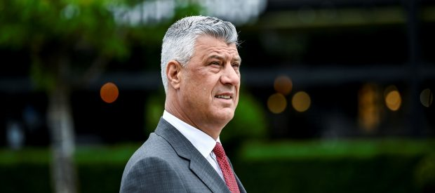 Kosovo President Hashim Thaci takes part in a tribute ceremony at a statue of late Kosovo Liberation Army (KLA) commander in Pristina on June 11, 2020, as the country celebrates the Liberation Day marking the deployment of NATO forces on the ground. (Photo by Armend NIMANI / AFP) (Photo by ARMEND NIMANI/AFP via Getty Images)